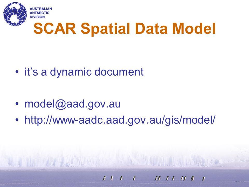 SCAR Spatial Data Model its a dynamic document model@aad.gov.au http://www-aadc.aad.gov.au/gis/model/