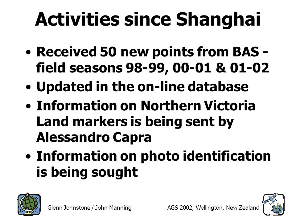 Glenn Johnstone / John ManningAGS 2002, Wellington, New Zealand Activities since Shanghai Received 50 new points from BAS - field seasons 98-99, 00-01 & 01-02 Updated in the on-line database Information on Northern Victoria Land markers is being sent by Alessandro Capra Information on photo identification is being sought