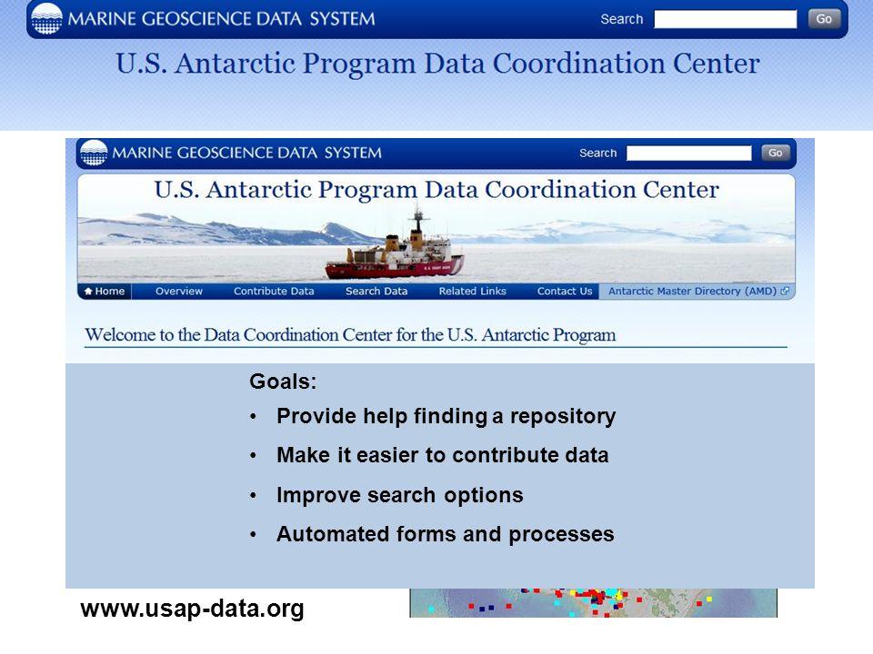 Goals: Provide help finding a repository Make it easier to contribute data Improve search options Automated forms and processes www.usap-data.org