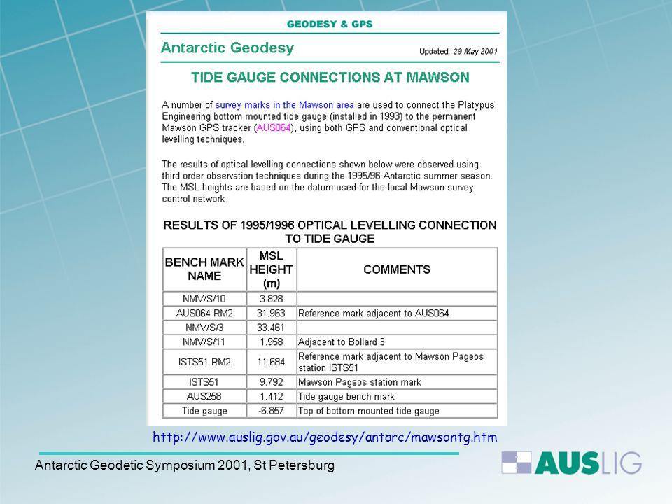 Antarctic Geodetic Symposium 2001, St Petersburg Level Connections at Mawson