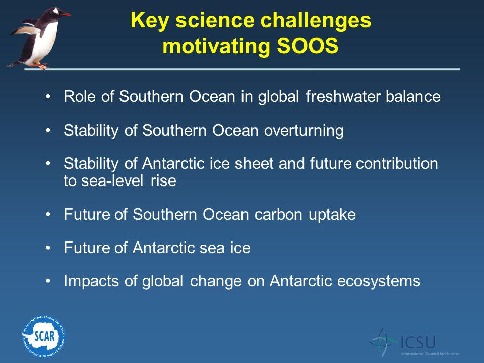 Role of Southern Ocean in global freshwater balance Stability of Southern Ocean overturning Stability of Antarctic ice sheet and future contribution t