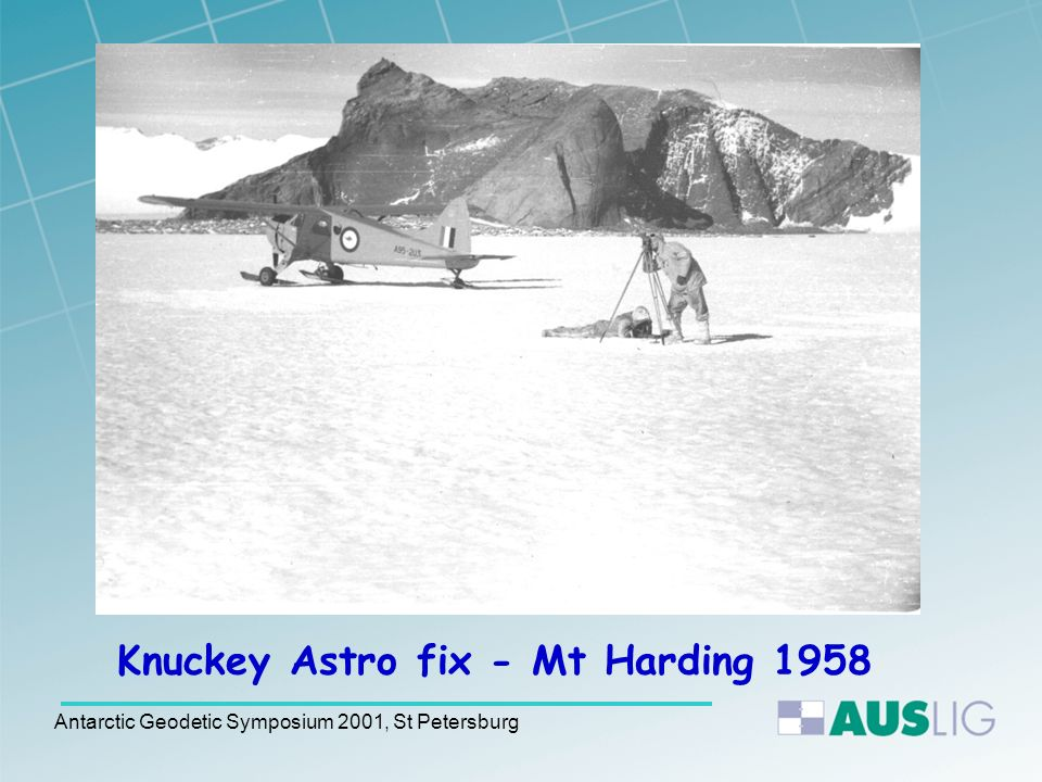 Some History ANARE surveyor Knuckey observed an Astro fix near Mt Harding in 1958.