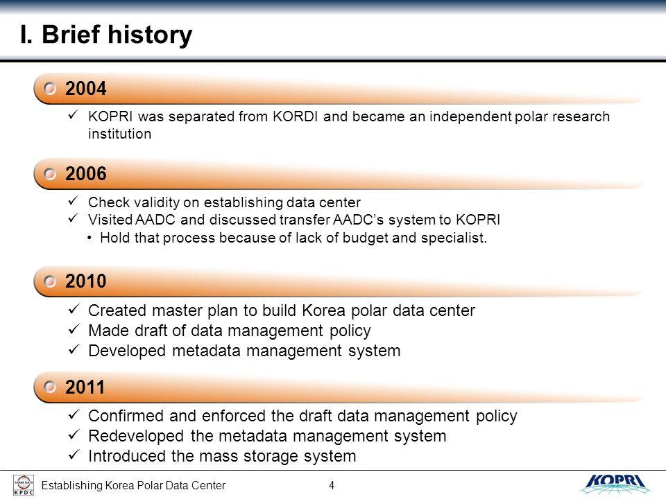 Establishing Korea Polar Data Center 15 III.