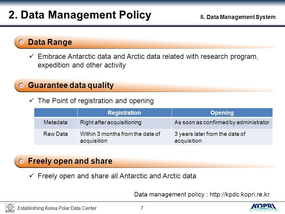 Establishing Korea Polar Data Center 8 II.Data Management System 3.