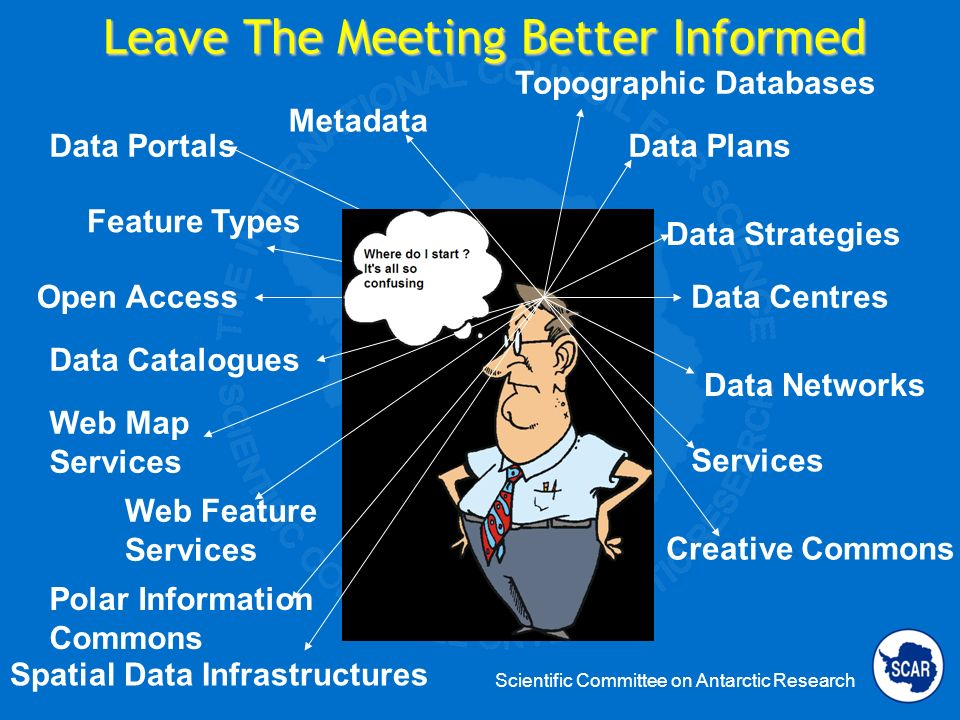 Scientific Committee on Antarctic Research Leave The Meeting Better Informed Data Plans Data Centres Data Networks Services Data Portals Feature Types Open Access Creative Commons Polar Information Commons Spatial Data Infrastructures Data Strategies Metadata Topographic Databases Web Map Services Web Feature Services Data Catalogues