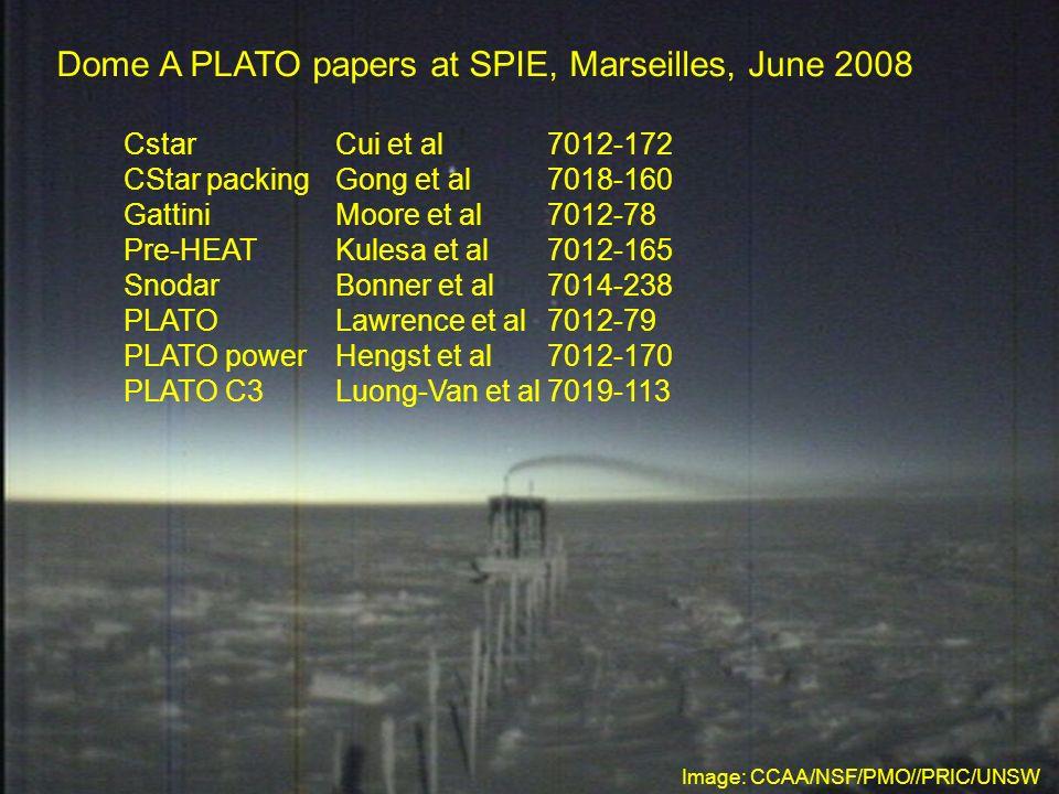 Dome A PLATO papers at SPIE, Marseilles, June 2008 CstarCui et al7012-172 CStar packingGong et al7018-160 GattiniMoore et al7012-78 Pre-HEATKulesa et al7012-165 SnodarBonner et al7014-238 PLATOLawrence et al7012-79 PLATO powerHengst et al7012-170 PLATO C3Luong-Van et al7019-113 Image: CCAA/NSF/PMO//PRIC/UNSW