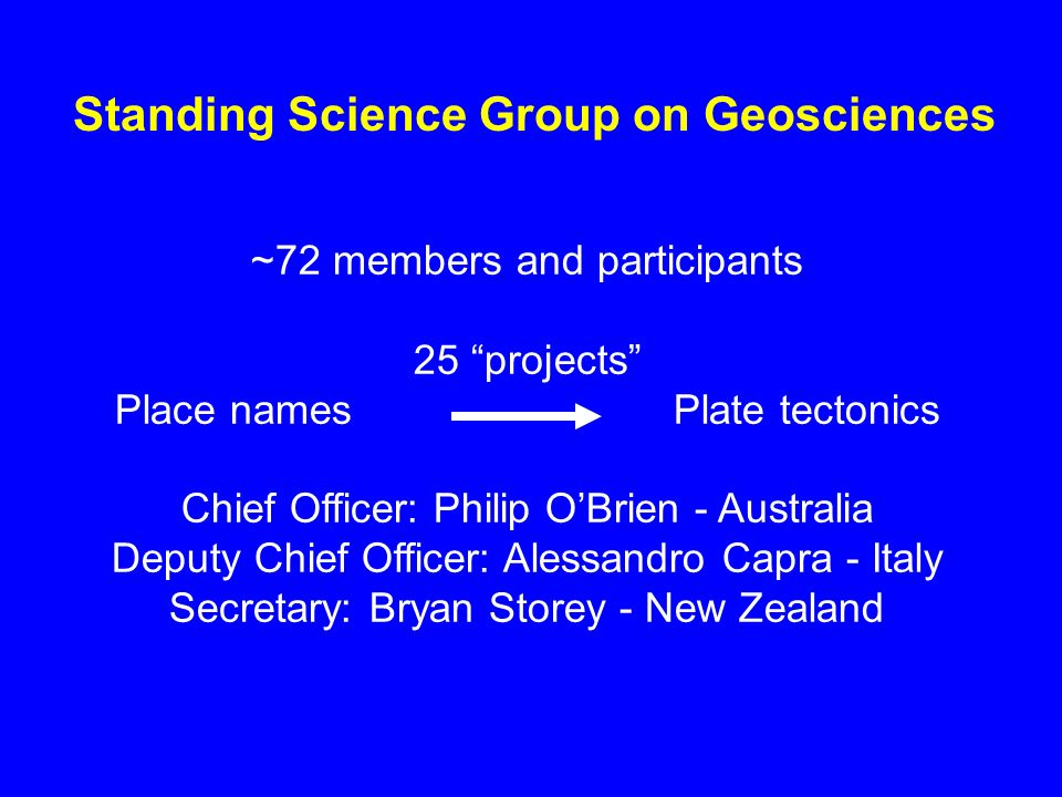 Standing Science Group on Geosciences ~72 members and participants 25 projects Place names Plate tectonics Chief Officer: Philip OBrien - Australia De