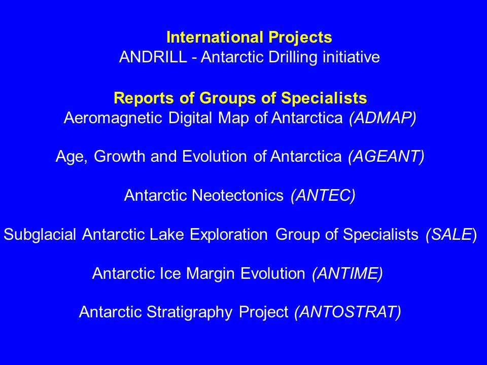 Environmental Impacts of marine acoustic technology Workshop held in Cambridge in September 2001 Participation and written contributions from 17 scientist with expertise in Antarctic biology, marine mammals and acoustics, and geophysics/marine acoustics.