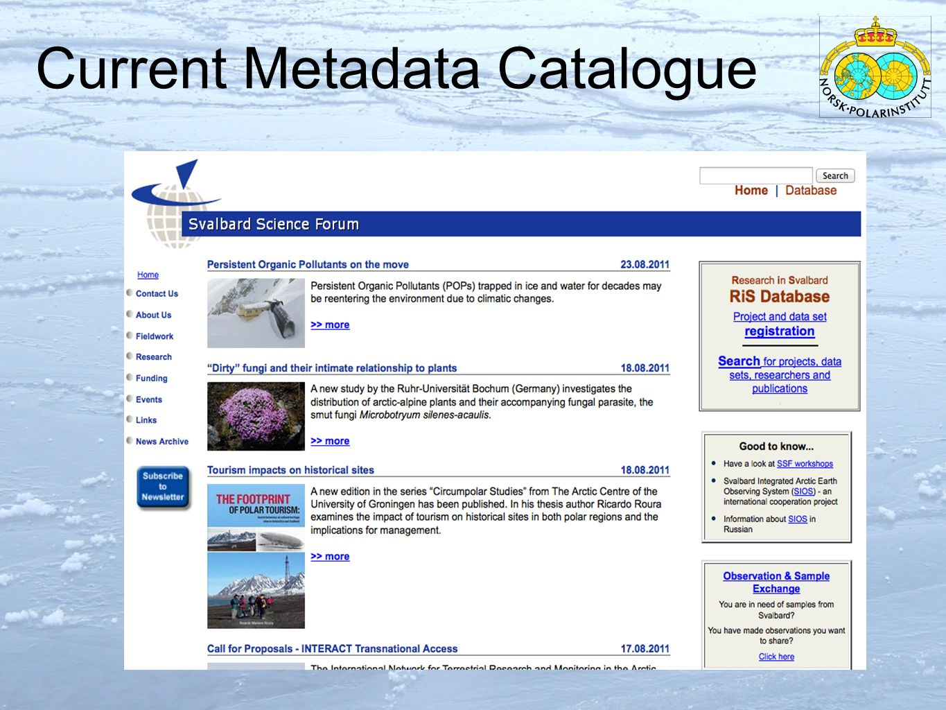 Current Metadata Catalogue 8