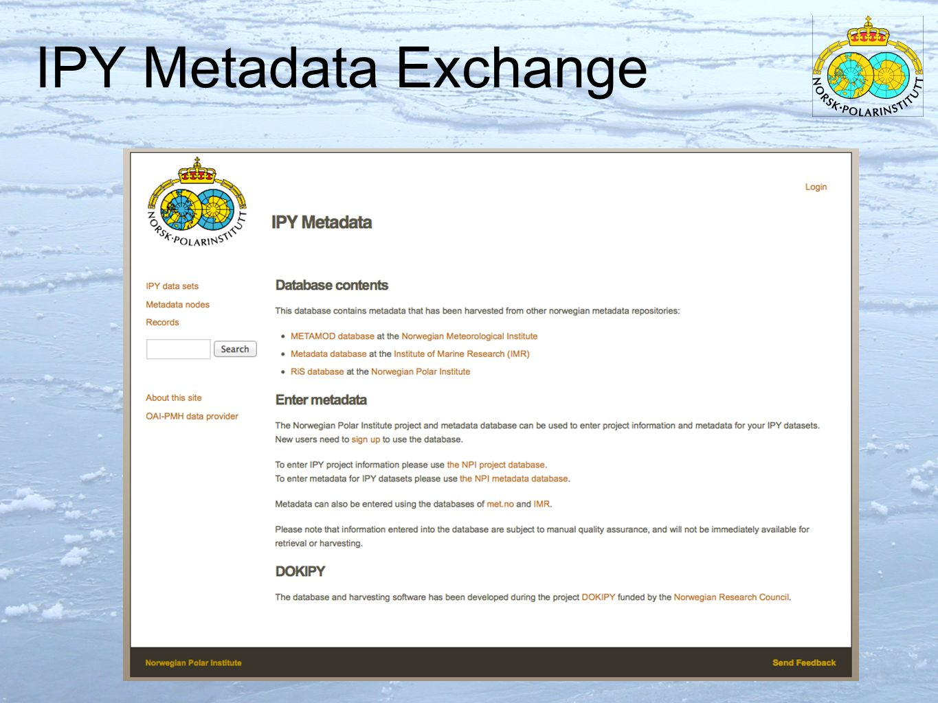 IPY Metadata Exchange 10