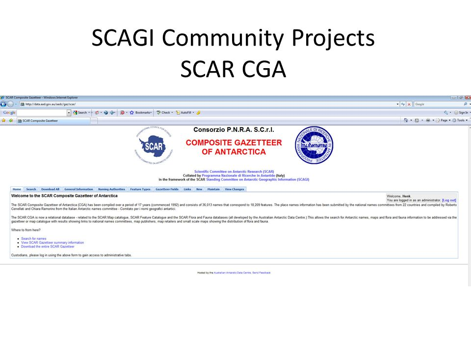 SCAGI Community Projects SCAR CGA