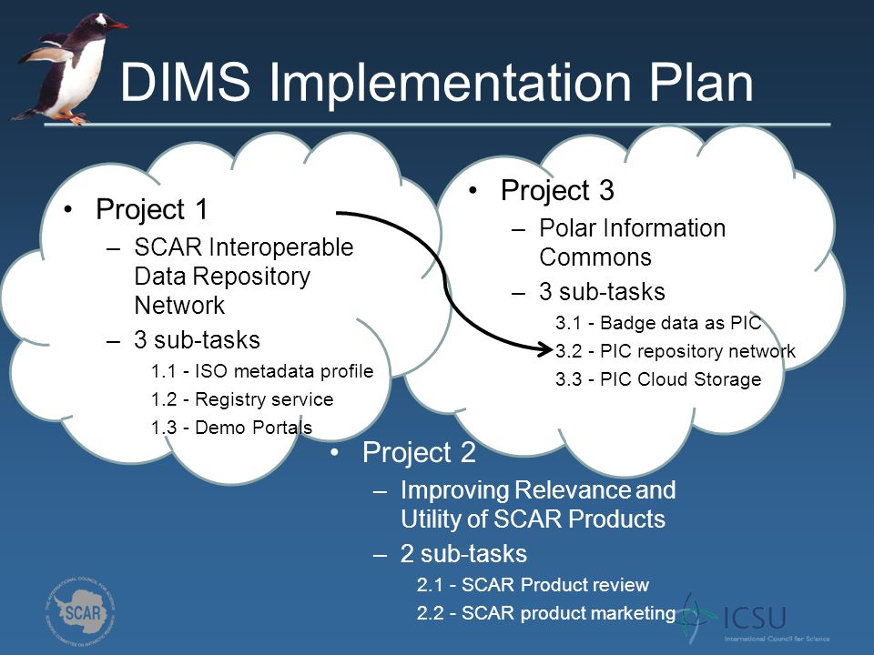 DIMS Implementation Plan Task 1.1 & 1.3 China Japan Australia Belgium USA Norway Netherlands Task 1.2 NASA has a registry service but hasnt given access PROJECT 1