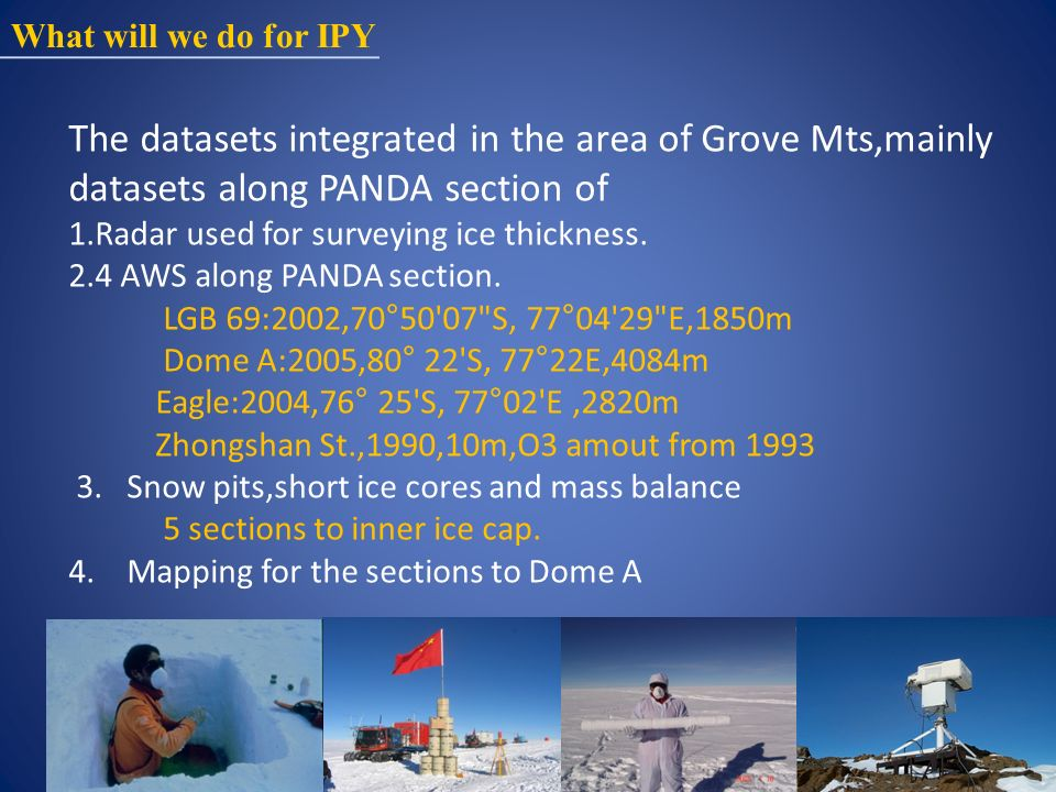 What will we do for IPY The datasets integrated in the area of Grove Mts,mainly datasets along PANDA section of 1.Radar used for surveying ice thickness.