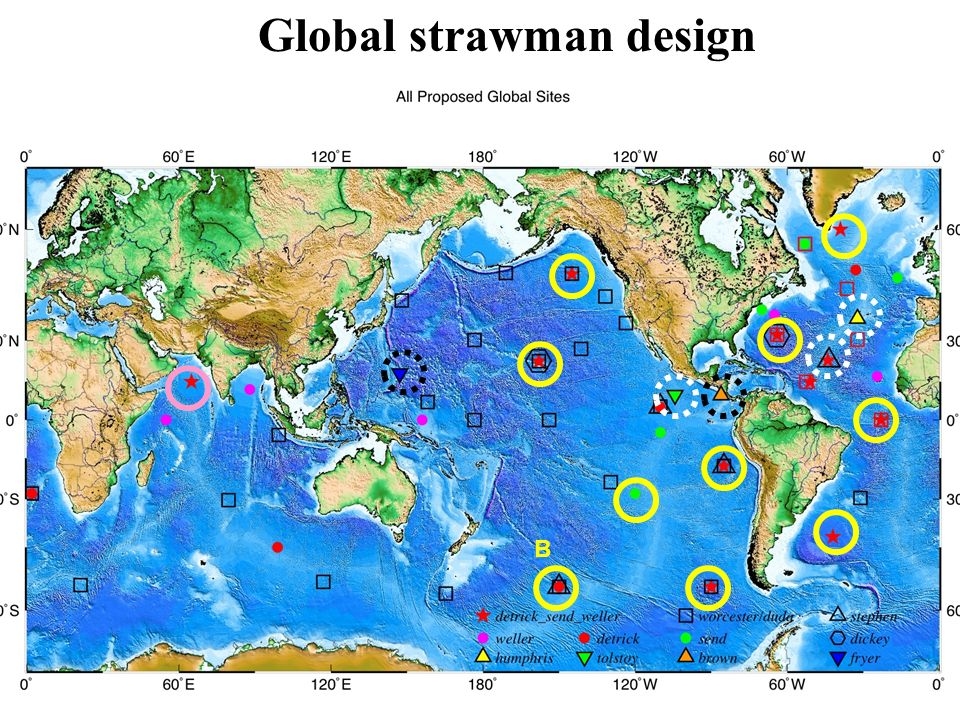 OceanSITES action: - Note: no transport sites, those fit better into NOAA interests - how much can locations be moved for optimizing acoustic paths - where is international coordination necessary/desirable .