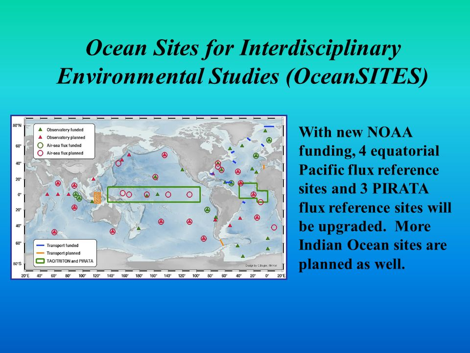 Ocean Sites for Interdisciplinary Environmental Studies (OceanSITES) With new NOAA funding, 4 equatorial Pacific flux reference sites and 3 PIRATA flu