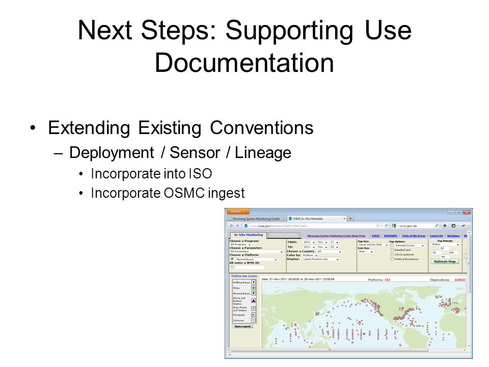 Next Steps: Supporting Use Documentation Extending Existing Conventions –Deployment / Sensor / Lineage Incorporate into ISO Incorporate OSMC ingest