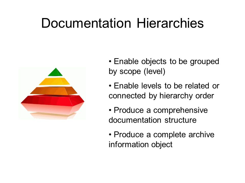 Documentation Hierarchies Enable objects to be grouped by scope (level) Enable levels to be related or connected by hierarchy order Produce a comprehensive documentation structure Produce a complete archive information object