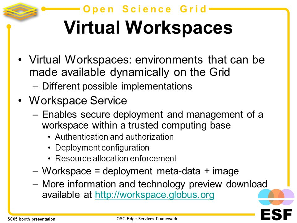 SC05 booth presentation OSG Edge Services Framework 5 Open Science Grid Virtual Workspaces Virtual Workspaces: environments that can be made available dynamically on the Grid –Different possible implementations Workspace Service –Enables secure deployment and management of a workspace within a trusted computing base Authentication and authorization Deployment configuration Resource allocation enforcement –Workspace = deployment meta-data + image –More information and technology preview download available at