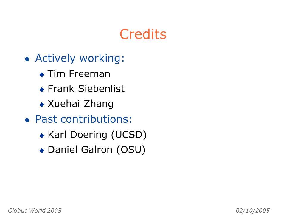 Globus World 200502/10/2005 Credits l Actively working: u Tim Freeman u Frank Siebenlist u Xuehai Zhang l Past contributions: u Karl Doering (UCSD) u