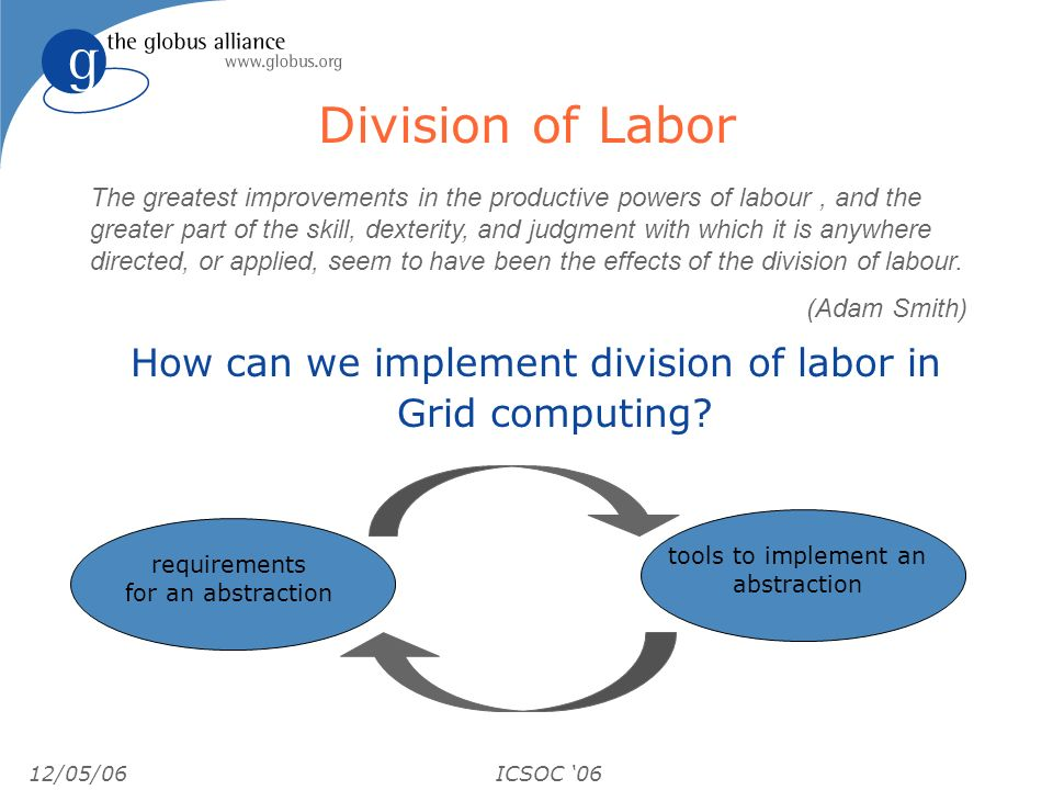 12/05/06ICSOC 06 Division of Labor How can we implement division of labor in Grid computing? The greatest improvements in the productive powers of lab