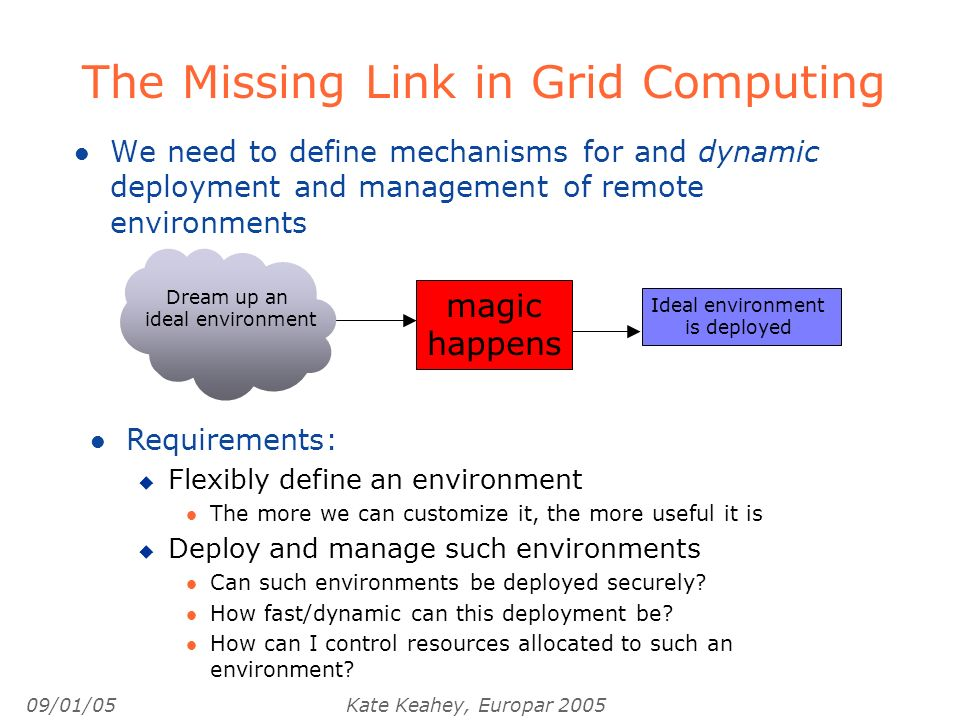 09/01/05Kate Keahey, Europar 2005 The Missing Link in Grid Computing l We need to define mechanisms for and dynamic deployment and management of remot
