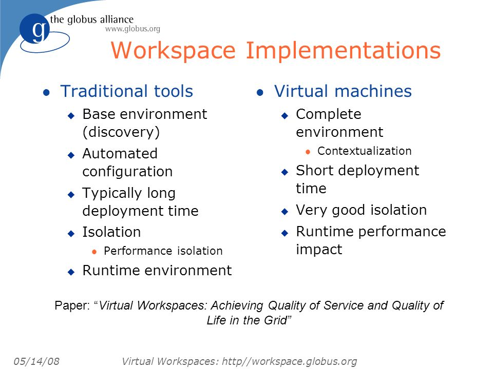 05/14/08 Virtual Workspaces: http//workspace.globus.org Workspace Implementations l Traditional tools u Base environment (discovery) u Automated configuration u Typically long deployment time u Isolation l Performance isolation u Runtime environment l Virtual machines u Complete environment l Contextualization u Short deployment time u Very good isolation u Runtime performance impact Paper: Virtual Workspaces: Achieving Quality of Service and Quality of Life in the Grid