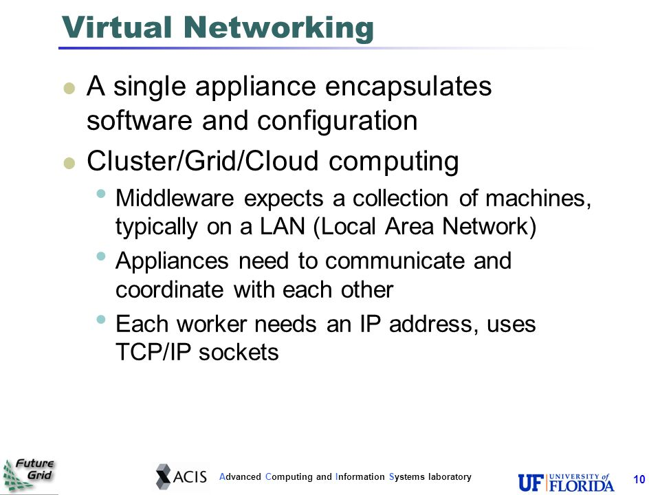Advanced Computing and Information Systems laboratory Virtual Networking A single appliance encapsulates software and configuration Cluster/Grid/Cloud computing Middleware expects a collection of machines, typically on a LAN (Local Area Network) Appliances need to communicate and coordinate with each other Each worker needs an IP address, uses TCP/IP sockets 10