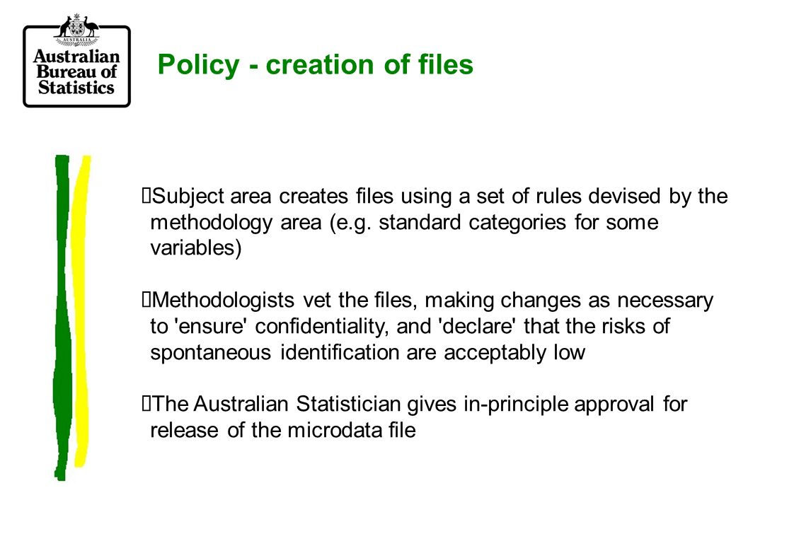 Policy - creation of files Subject area creates files using a set of rules devised by the methodology area (e.g.