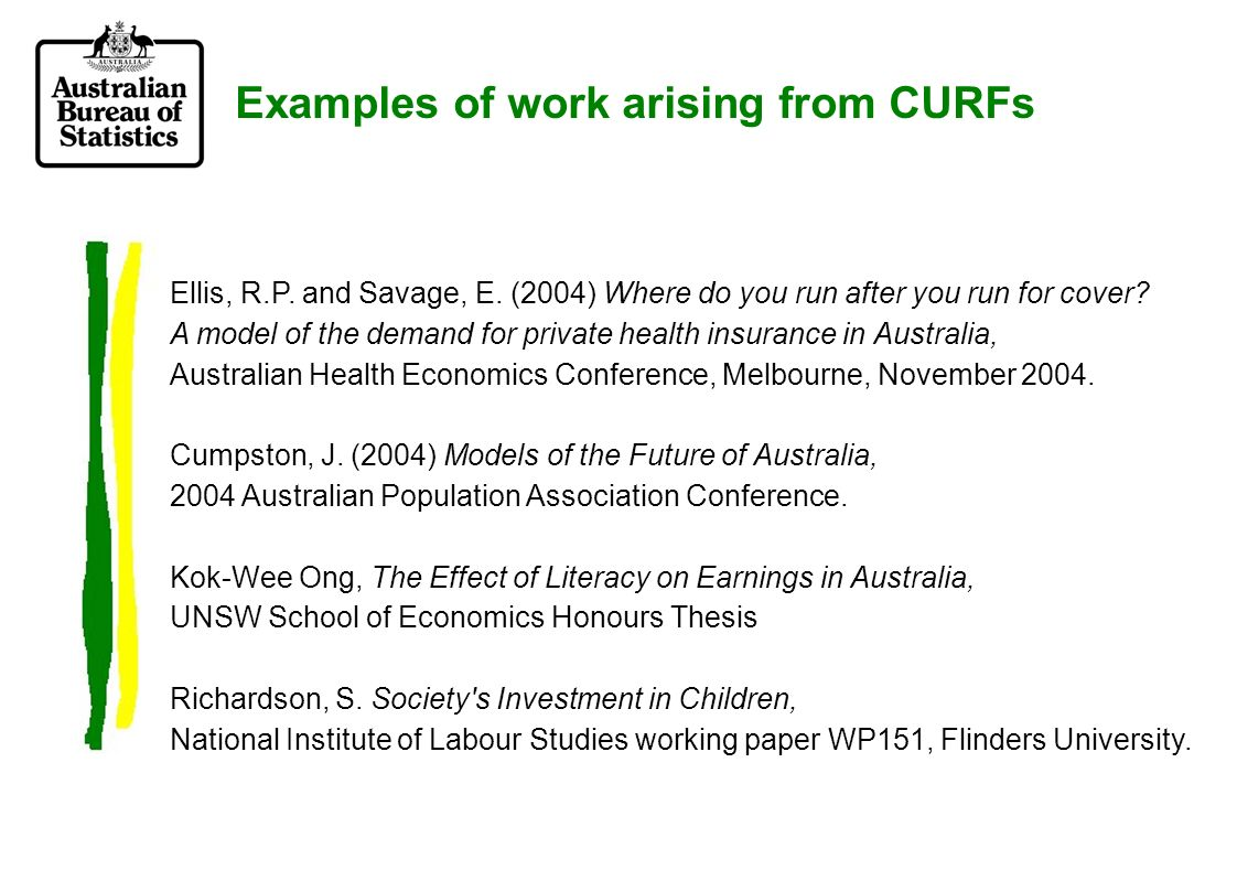 Examples of work arising from CURFs Ellis, R.P. and Savage, E.