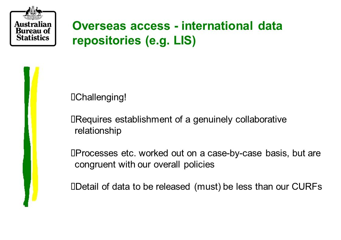 Overseas access - international data repositories (e.g.