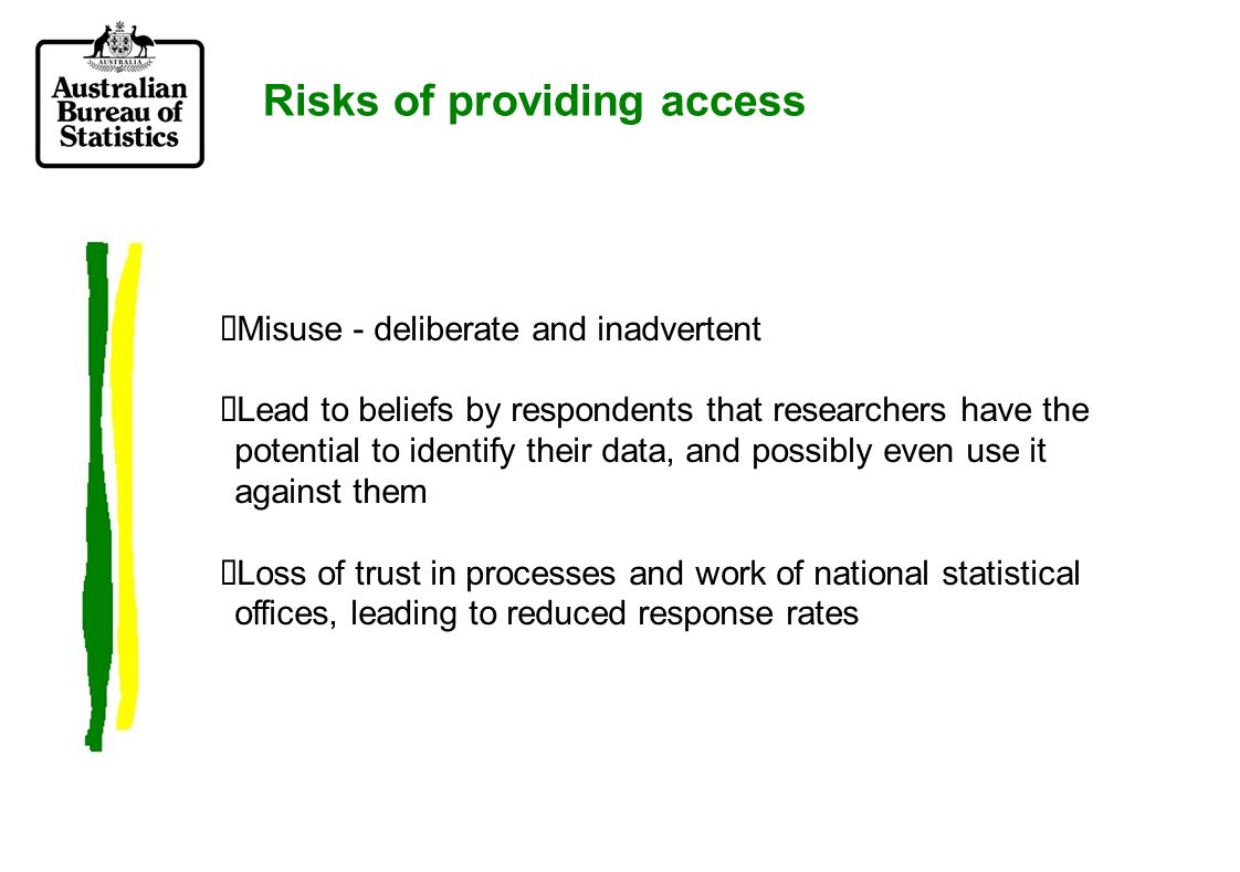From risk avoidance to risk management Production of microdata files from household collections is now routine –well developed polices and processes exist Beginning to explore ways of making business microdata more accessible, given that it is rare to be able to produce a confidentialised file Communication with respondents.