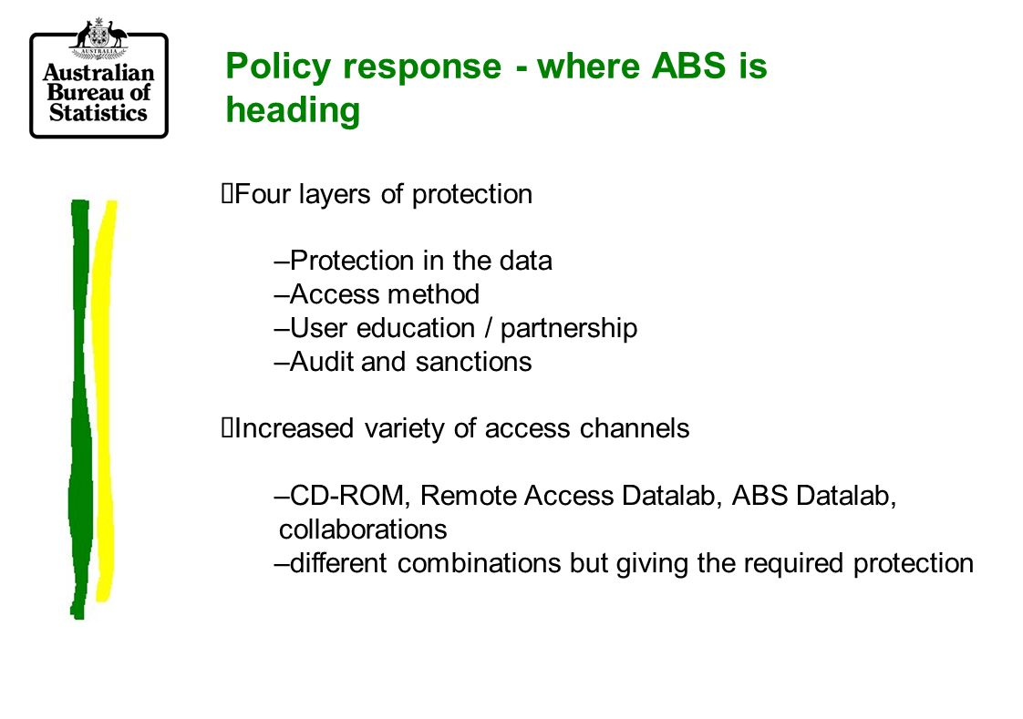 Policy response - where ABS is heading Four layers of protection –Protection in the data –Access method –User education / partnership –Audit and sanctions Increased variety of access channels –CD-ROM, Remote Access Datalab, ABS Datalab, collaborations –different combinations but giving the required protection