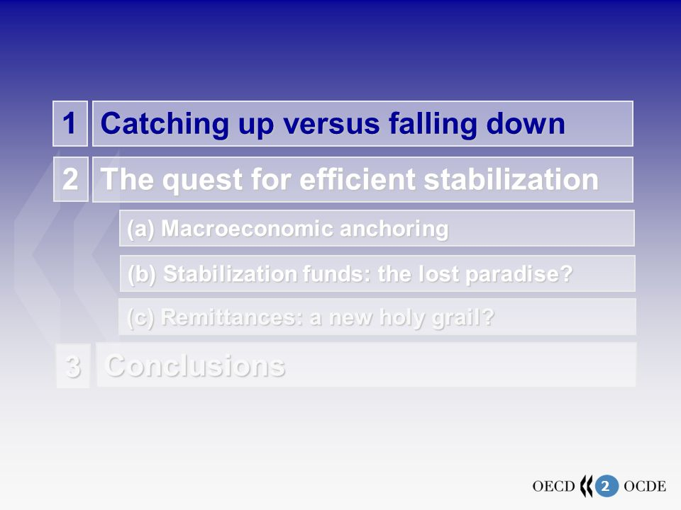 2 1 Catching up versus falling down The quest for efficient stabilization 2 (c) Remittances: a new holy grail.