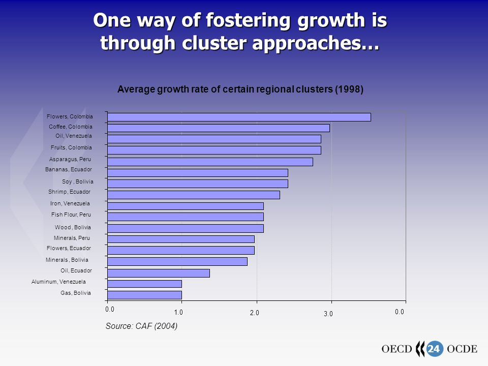 24 One way of fostering growth is through cluster approaches… Gas, Bolivia Aluminum, Venezuela Oil, Ecuador Minerals, Bolivia Flowers, Ecuador Minerals, Peru Wood, Bolivia Iron, Venezuela Shrimp, Ecuador Soy, Bolivia Bananas, Ecuador Asparagus, Peru Fruits, Colombia Oil, Venezuela Coffee, Colombia Flowers, Colombia Fish Flour, Peru Average growth rate of certain regional clusters (1998) Source: CAF (2004)
