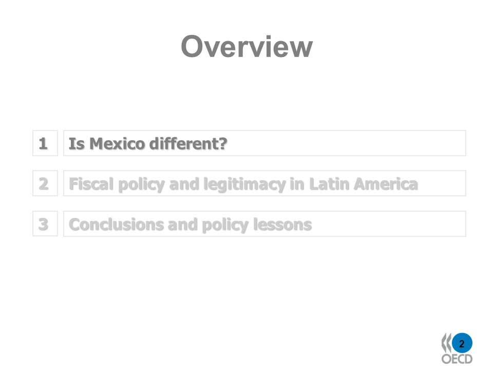 2 Is Mexico different? 1 Fiscal policy and legitimacy in Latin America 2 Overview Conclusions and policy lessons 3