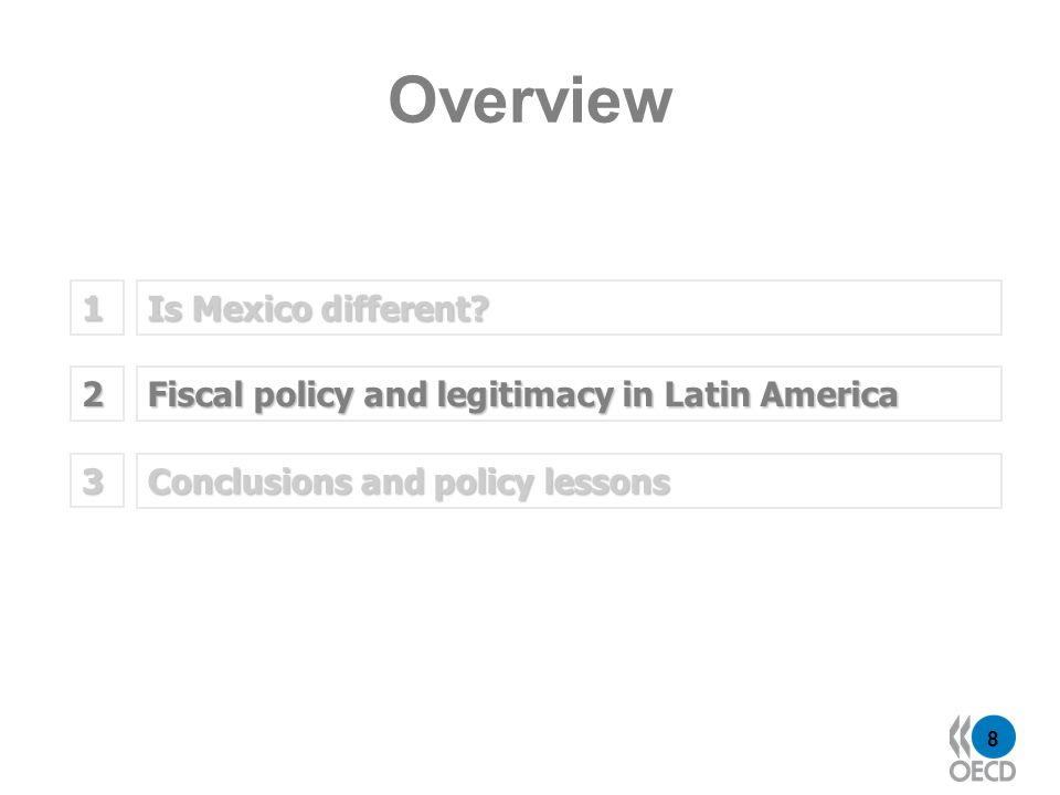8 Is Mexico different? 1 Fiscal policy and legitimacy in Latin America 2 Overview Conclusions and policy lessons 3