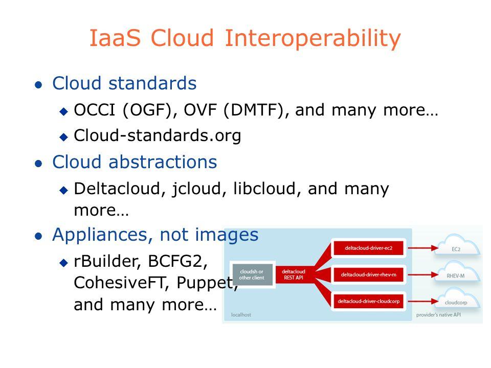 IaaS Cloud Interoperability l Cloud standards u OCCI (OGF), OVF (DMTF), and many more… u Cloud-standards.org l Cloud abstractions u Deltacloud, jcloud