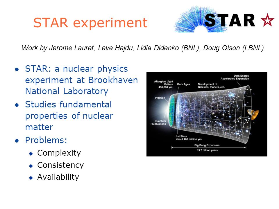 STAR experiment l STAR: a nuclear physics experiment at Brookhaven National Laboratory l Studies fundamental properties of nuclear matter l Problems: