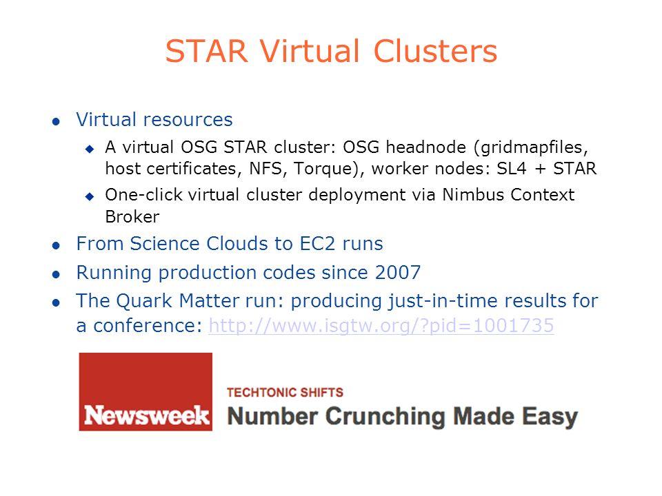 STAR Virtual Clusters l Virtual resources u A virtual OSG STAR cluster: OSG headnode (gridmapfiles, host certificates, NFS, Torque), worker nodes: SL4