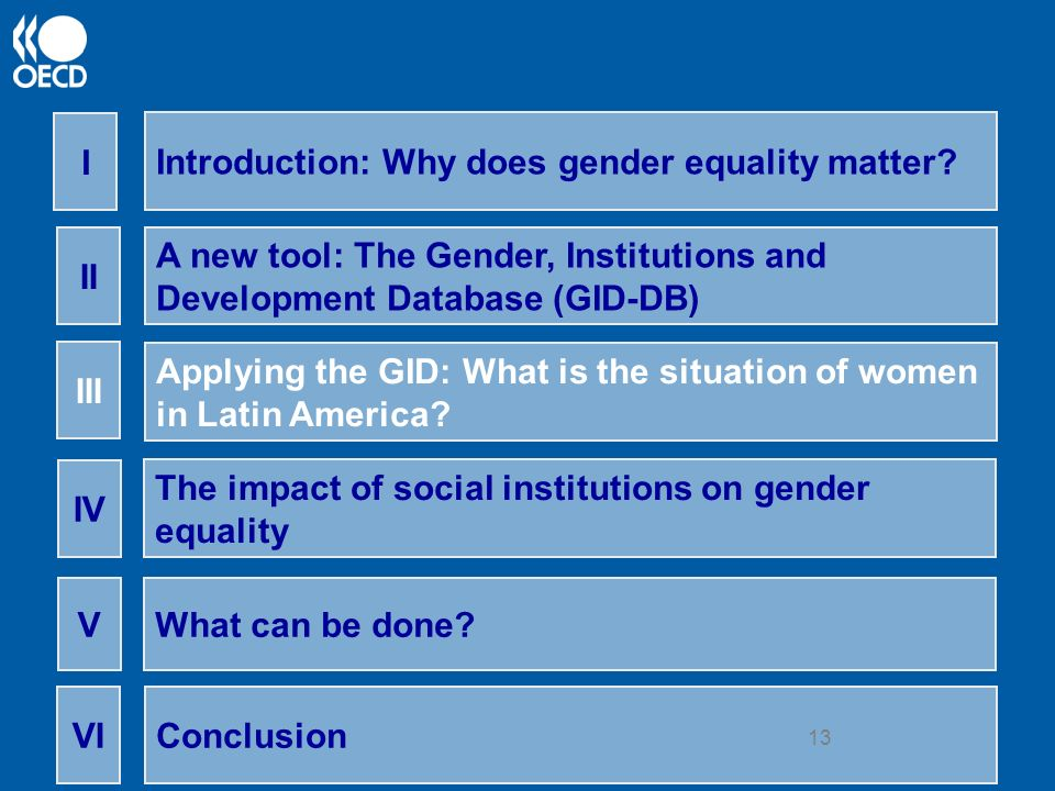 13 Introduction: Why does gender equality matter? I A new tool: The Gender, Institutions and Development Database (GID-DB) II Applying the GID: What i