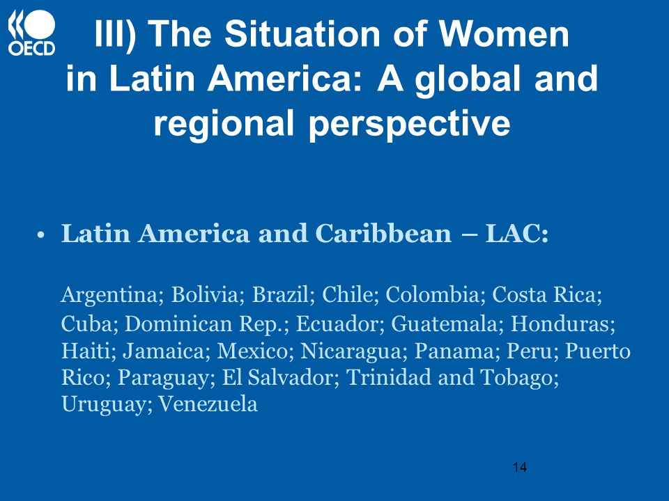 14 III) The Situation of Women in Latin America: A global and regional perspective Latin America and Caribbean – LAC: Argentina; Bolivia; Brazil; Chil
