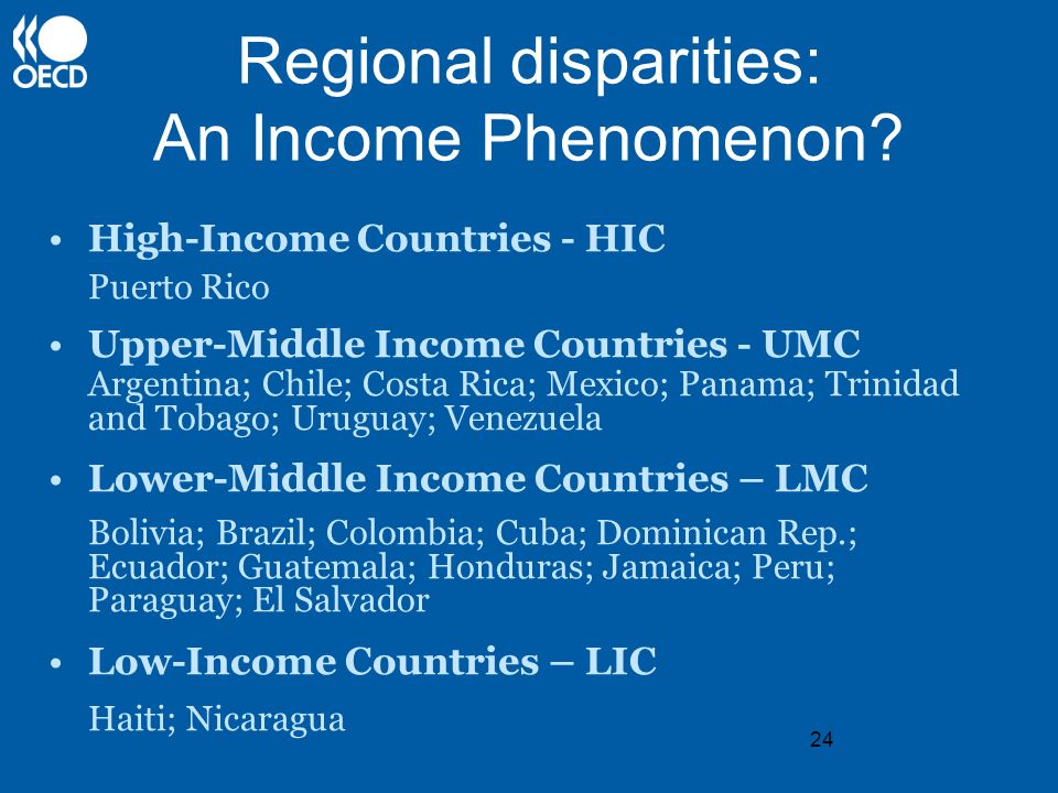 24 Regional disparities: An Income Phenomenon? High-Income Countries - HIC Puerto Rico Upper-Middle Income Countries - UMC Argentina; Chile; Costa Ric