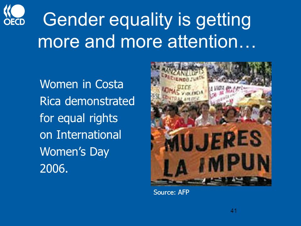 41 Gender equality is getting more and more attention… Women in Costa Rica demonstrated for equal rights on International Womens Day 2006. Source: AFP