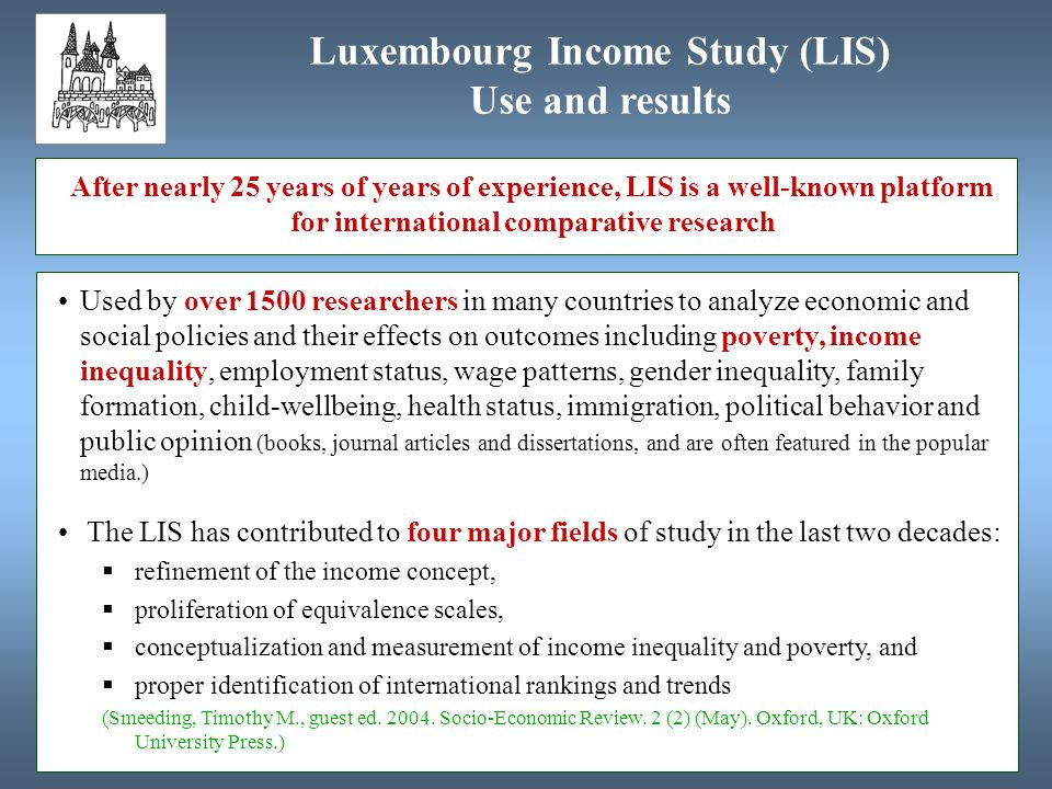 Used by over 1500 researchers in many countries to analyze economic and social policies and their effects on outcomes including poverty, income inequality, employment status, wage patterns, gender inequality, family formation, child-wellbeing, health status, immigration, political behavior and public opinion (books, journal articles and dissertations, and are often featured in the popular media.) The LIS has contributed to four major fields of study in the last two decades: refinement of the income concept, proliferation of equivalence scales, conceptualization and measurement of income inequality and poverty, and proper identification of international rankings and trends (Smeeding, Timothy M., guest ed.