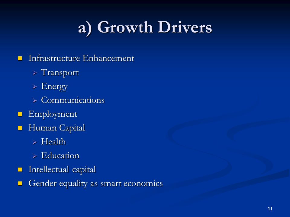 11 a) Growth Drivers Infrastructure Enhancement Infrastructure Enhancement Transport Transport Energy Energy Communications Communications Employment
