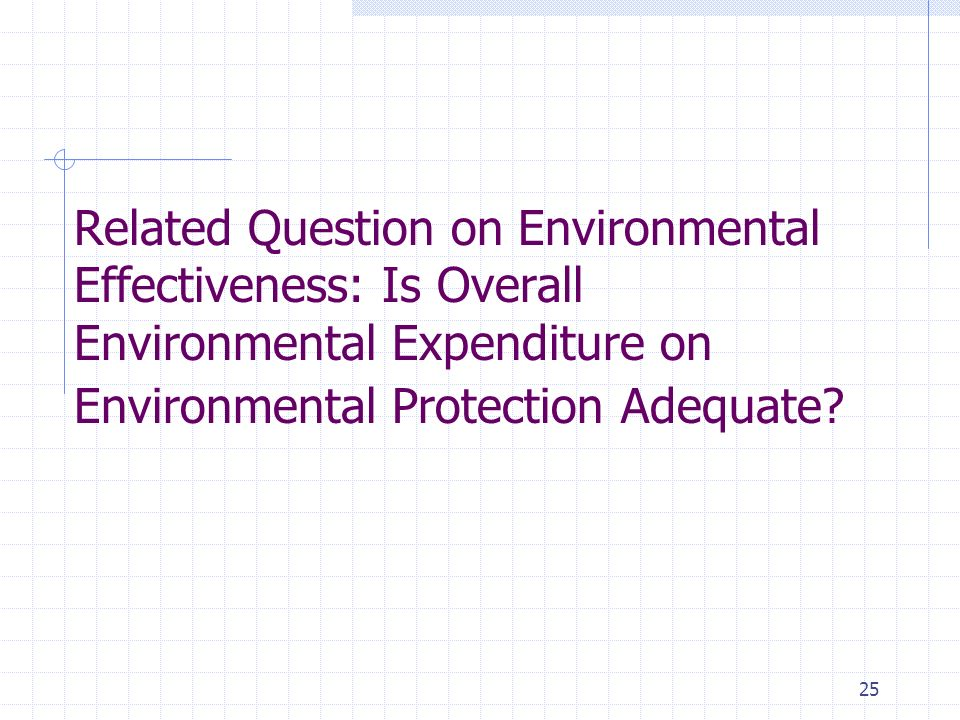 25 Related Question on Environmental Effectiveness: Is Overall Environmental Expenditure on Environmental Protection Adequate?
