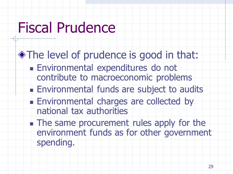 29 Fiscal Prudence The level of prudence is good in that: Environmental expenditures do not contribute to macroeconomic problems Environmental funds are subject to audits Environmental charges are collected by national tax authorities The same procurement rules apply for the environment funds as for other government spending.