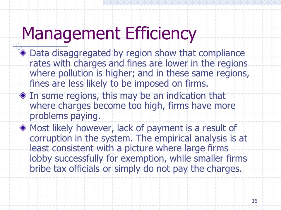 36 Management Efficiency Data disaggregated by region show that compliance rates with charges and fines are lower in the regions where pollution is higher; and in these same regions, fines are less likely to be imposed on firms.