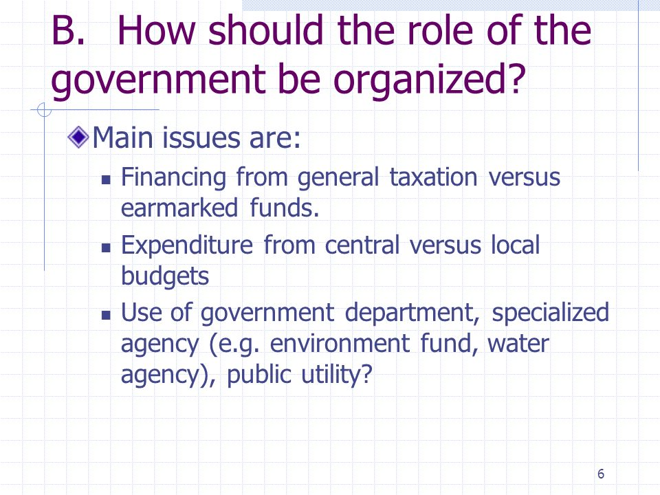 6 B.How should the role of the government be organized.