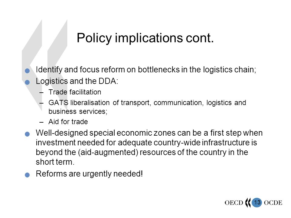 13 Policy implications cont.